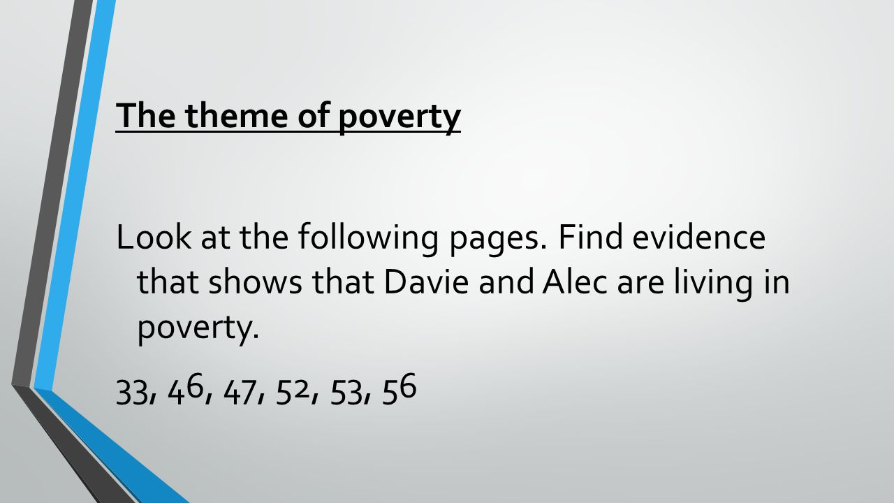 The theme of poverty Look at the following pages.