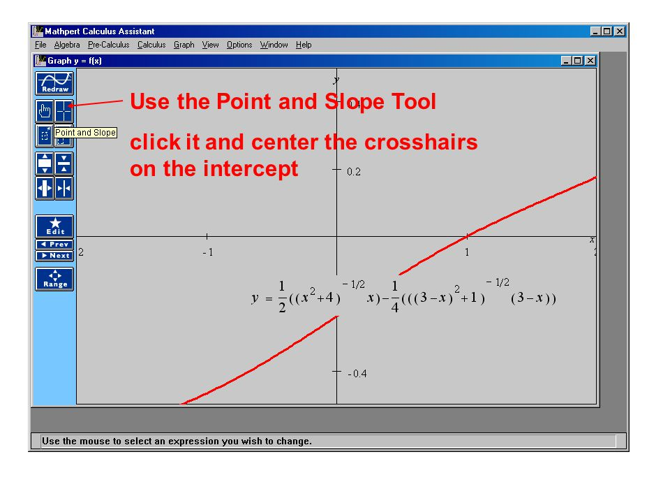 Use the Point and Slope Tool click it and center the crosshairs on the intercept