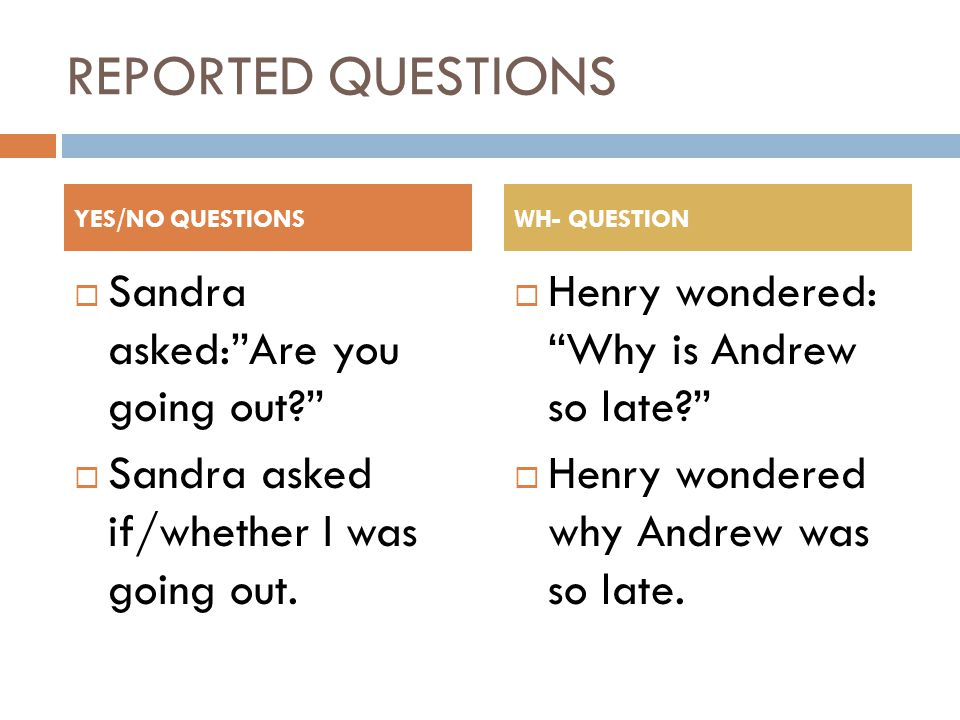 REPORTED QUESTIONS  Sandra asked: Are you going out  Sandra asked if/whether I was going out.