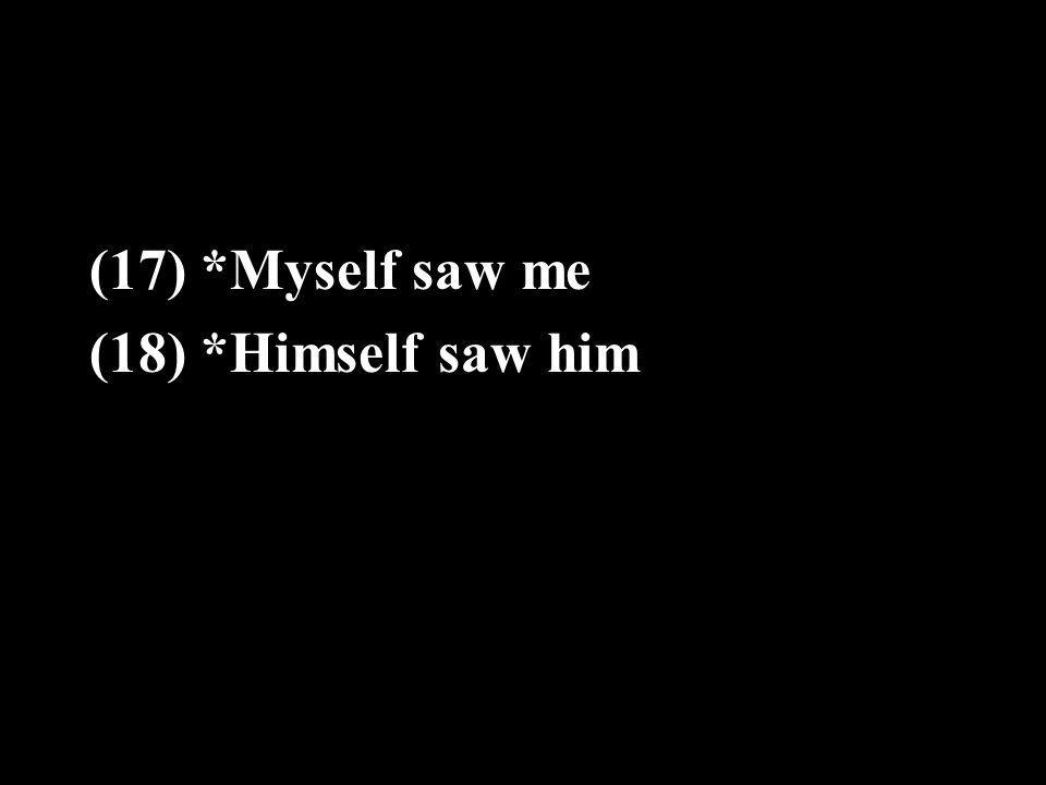 (17) *Myself saw me (18) *Himself saw him