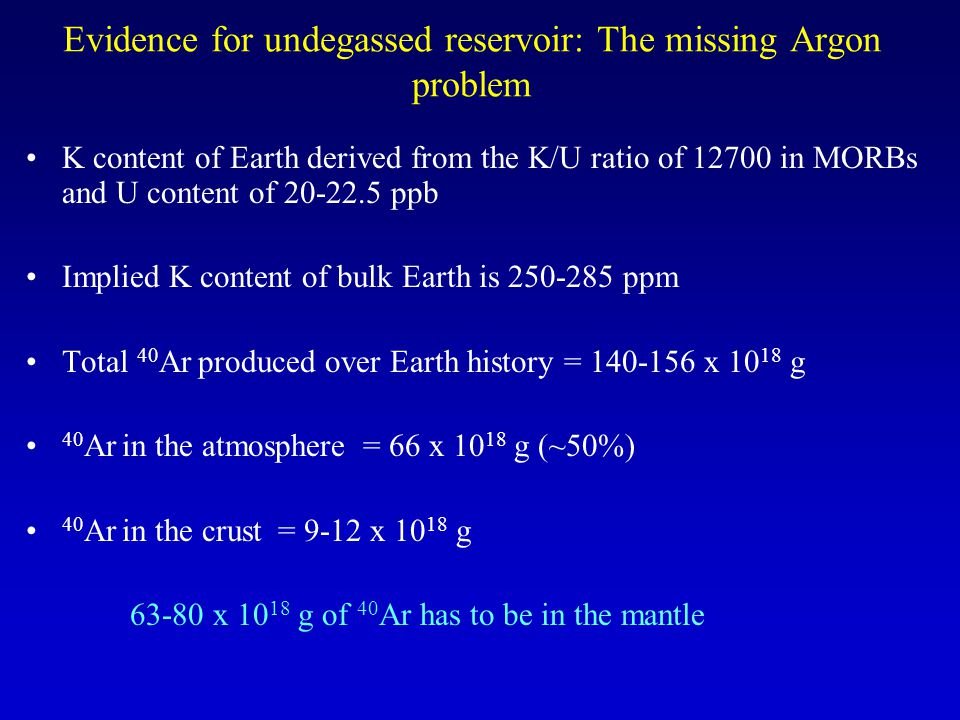 Evidence for undegassed reservoir: The missing Argon problem K content of Earth derived from the K/U ratio of 12700 in MORBs and U content of 20-22.5 ppb Implied K content of bulk Earth is 250-285 ppm Total 40 Ar produced over Earth history = 140-156 x 10 18 g 40 Ar in the atmosphere = 66 x 10 18 g (~50%) 40 Ar in the crust = 9-12 x 10 18 g 63-80 x 10 18 g of 40 Ar has to be in the mantle