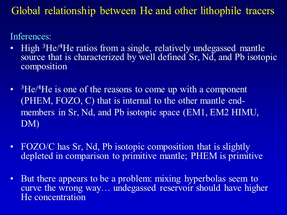 Global relationship between He and other lithophile tracers Inferences: High 3 He/ 4 He ratios from a single, relatively undegassed mantle source that is characterized by well defined Sr, Nd, and Pb isotopic composition 3 He/ 4 He is one of the reasons to come up with a component (PHEM, FOZO, C) that is internal to the other mantle end- members in Sr, Nd, and Pb isotopic space (EM1, EM2 HIMU, DM) FOZO/C has Sr, Nd, Pb isotopic composition that is slightly depleted in comparison to primitive mantle; PHEM is primitive But there appears to be a problem: mixing hyperbolas seem to curve the wrong way… undegassed reservoir should have higher He concentration