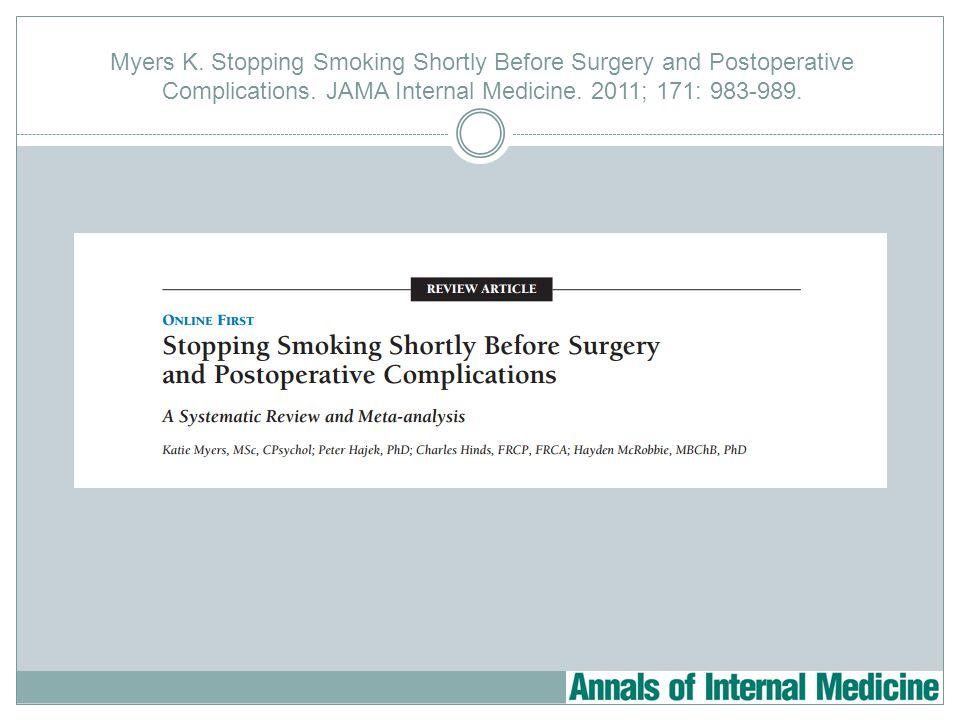 Myers K. Stopping Smoking Shortly Before Surgery and Postoperative Complications. JAMA Internal Medicine. 2011; 171: 983-989.