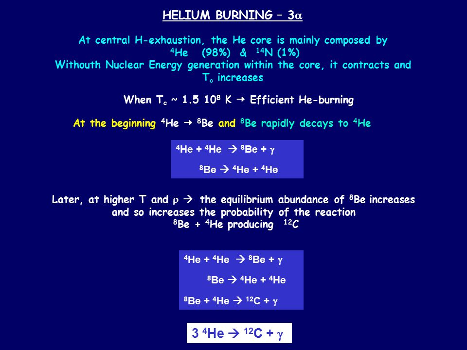 HELIUM BURNING – 3  At central H-exhaustion, the He core is mainly composed by 4 He (98%) & 14 N (1%) Withouth Nuclear Energy generation within the core, it contracts and T c increases When T c ~ 1.5 10 8 K  Efficient He-burning 4 He + 4 He  8 Be +  8 Be  4 He + 4 He At the beginning 4 He  8 Be and 8 Be rapidly decays to 4 He 4 He + 4 He  8 Be +  8 Be  4 He + 4 He 8 Be + 4 He  12 C +  Later, at higher T and   the equilibrium abundance of 8 Be increases and so increases the probability of the reaction 8 Be + 4 He producing 12 C 3 4 He  12 C + 