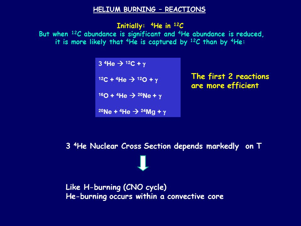 HELIUM BURNING – REACTIONS Initially: 4 He in 12 C But when 12 C abundance is significant and 4 He abundance is reduced, it is more likely that 4 He i