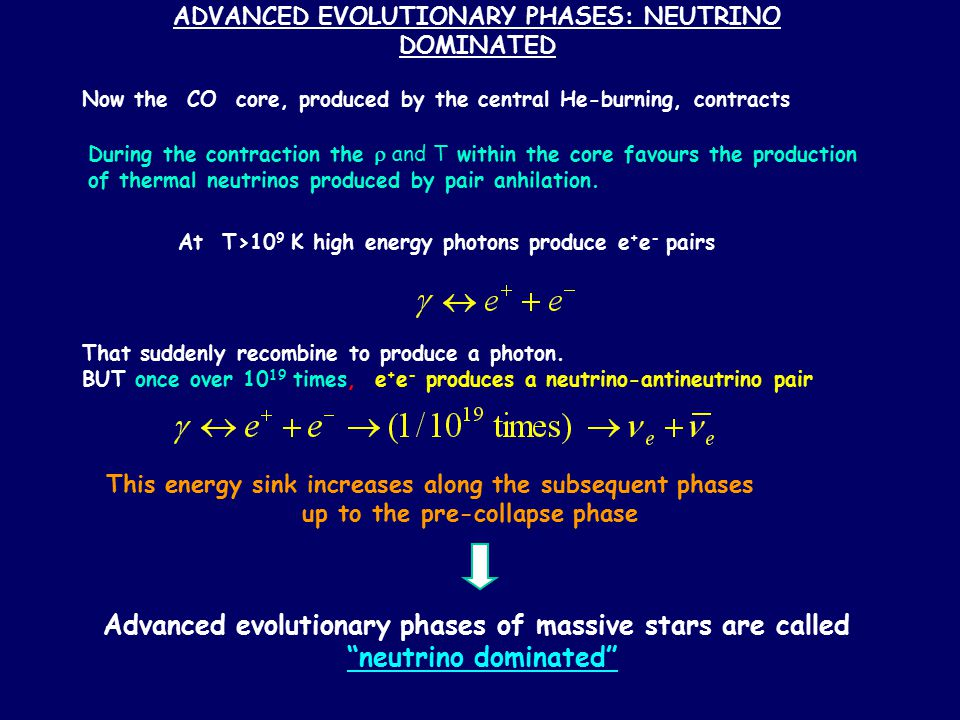 ADVANCED EVOLUTIONARY PHASES: NEUTRINO DOMINATED Now the CO core, produced by the central He-burning, contracts During the contraction the  and T wit
