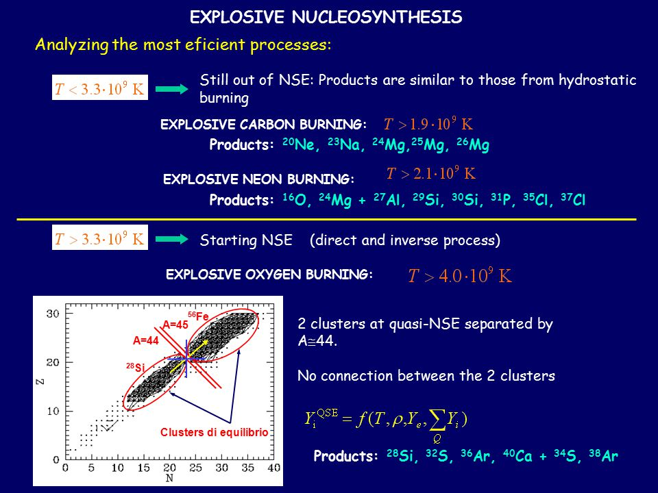 EXPLOSIVE NUCLEOSYNTHESIS Analyzing the most eficient processes: EXPLOSIVE CARBON BURNING: Products: 20 Ne, 23 Na, 24 Mg, 25 Mg, 26 Mg EXPLOSIVE NEON BURNING: Products: 16 O, 24 Mg + 27 Al, 29 Si, 30 Si, 31 P, 35 Cl, 37 Cl EXPLOSIVE OXYGEN BURNING: Products: 28 Si, 32 S, 36 Ar, 40 Ca + 34 S, 38 Ar Still out of NSE: Products are similar to those from hydrostatic burning Starting NSE (direct and inverse process) 2 clusters at quasi-NSE separated by A  44.