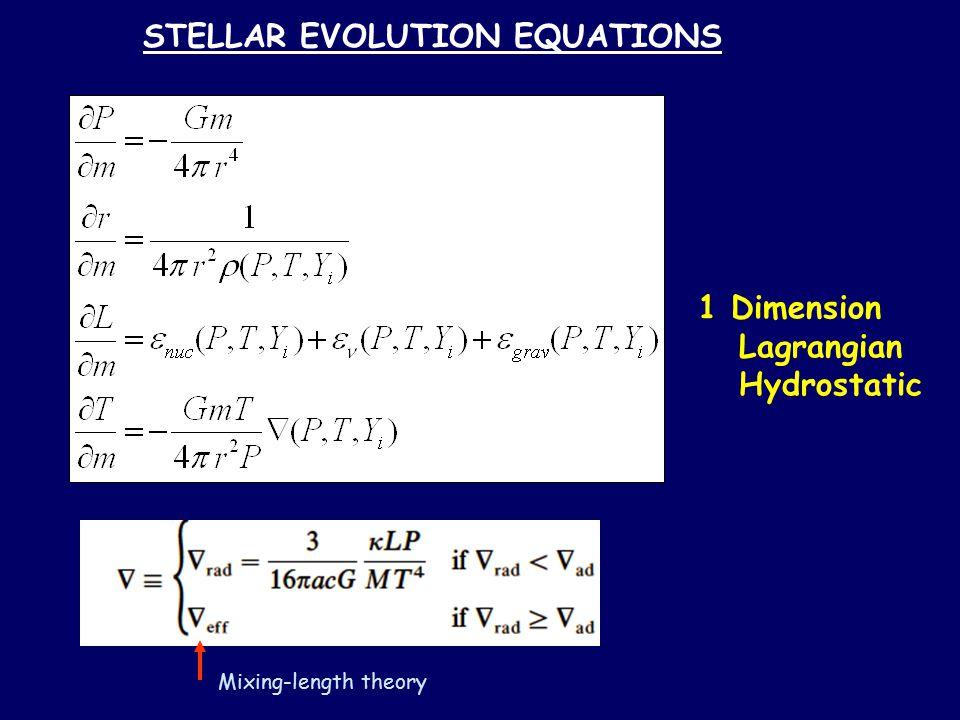 STELLAR EVOLUTION EQUATIONS 1 Dimension Lagrangian Hydrostatic Mixing-length theory