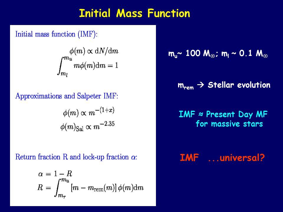 Initial Mass Function m u ~ 100 M  ; m l ~ 0.1 M  m rem  Stellar evolution IMF ≈ Present Day MF for massive stars IMF...universal?