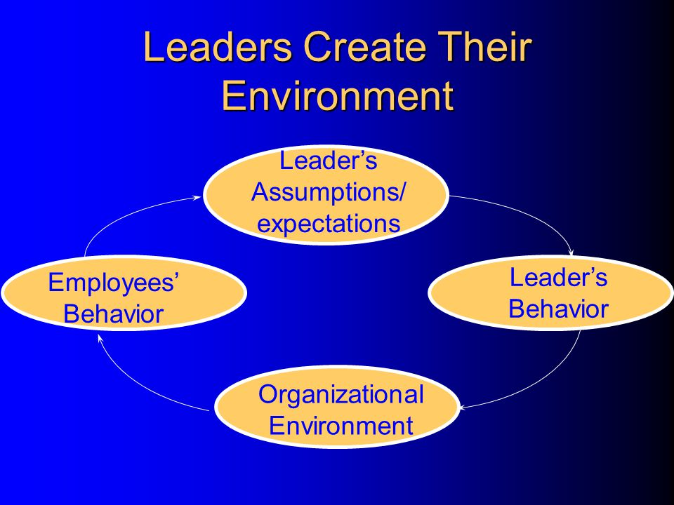 Leaders Create Their Environment Leader's Assumptions/ expectations Leader's Behavior Organizational Environment Employees' Behavior