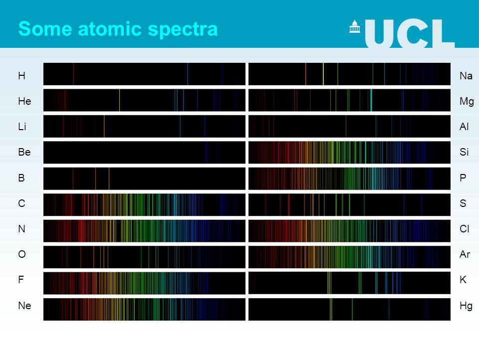 Some atomic spectra H He Li Be B C N O F Ne Na Mg Al Si P S Cl Ar K Hg