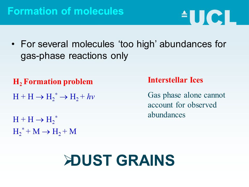 Formation of molecules For several molecules 'too high' abundances for gas-phase reactions only H 2 Formation problem H + H  H 2 *  H 2 + hv H + H 