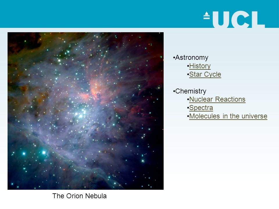 The Orion Nebula Astronomy History Star Cycle Chemistry Nuclear Reactions Spectra Molecules in the universe