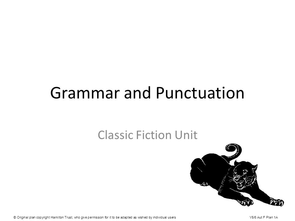 Grammar and Punctuation Classic Fiction Unit © Original plan copyright Hamilton Trust, who give permission for it to be adapted as wished by individua