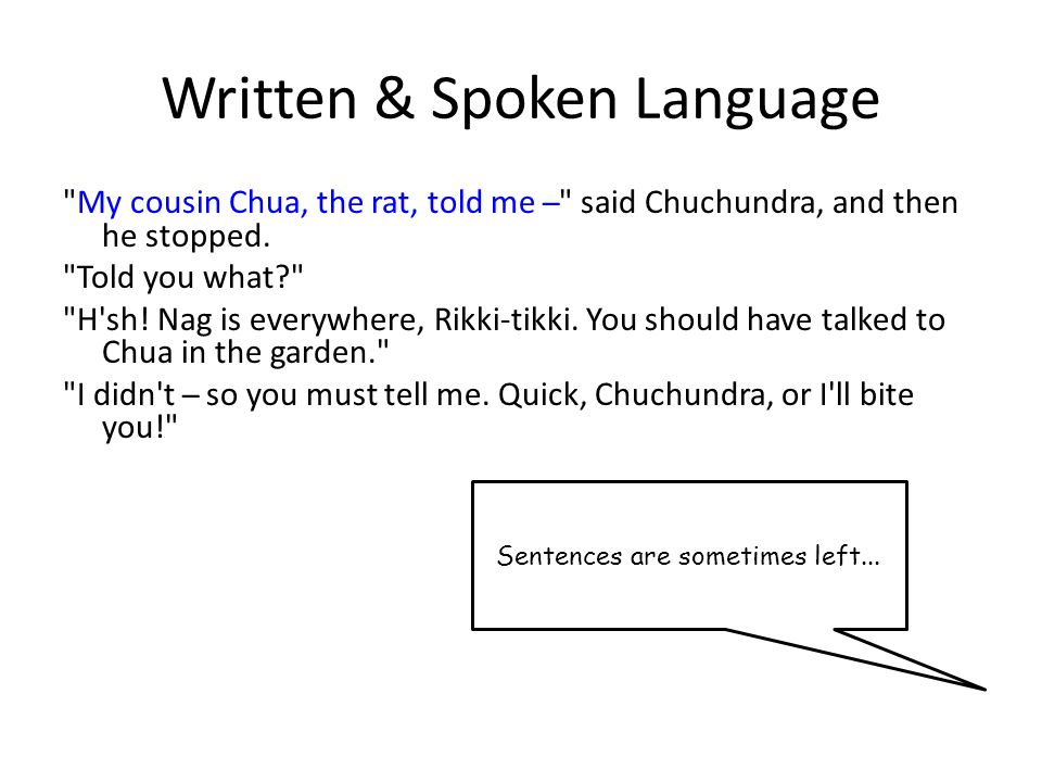Written & Spoken Language My cousin Chua, the rat, told me ̶ said Chuchundra, and then he stopped.