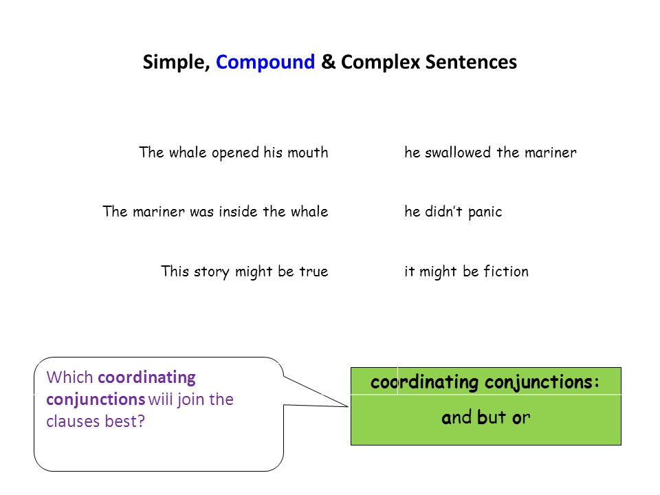Simple, Compound & Complex Sentences coordinating conjunctions: and but or Which coordinating conjunctions will join the clauses best? The whale opene