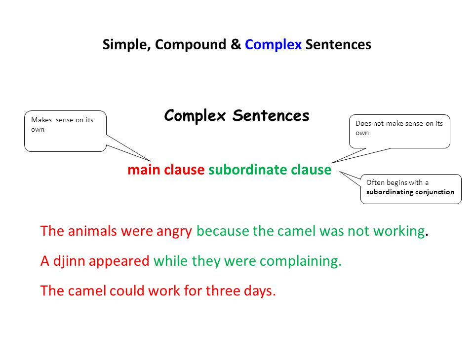 Simple, Compound & Complex Sentences Complex Sentences main clause subordinate clause Makes sense on its own Does not make sense on its own Often begi