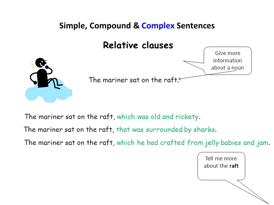 Simple, Compound & Complex Sentences Relative clauses The mariner sat on the raft. Tell me more about the raft The mariner sat on the raft, which was