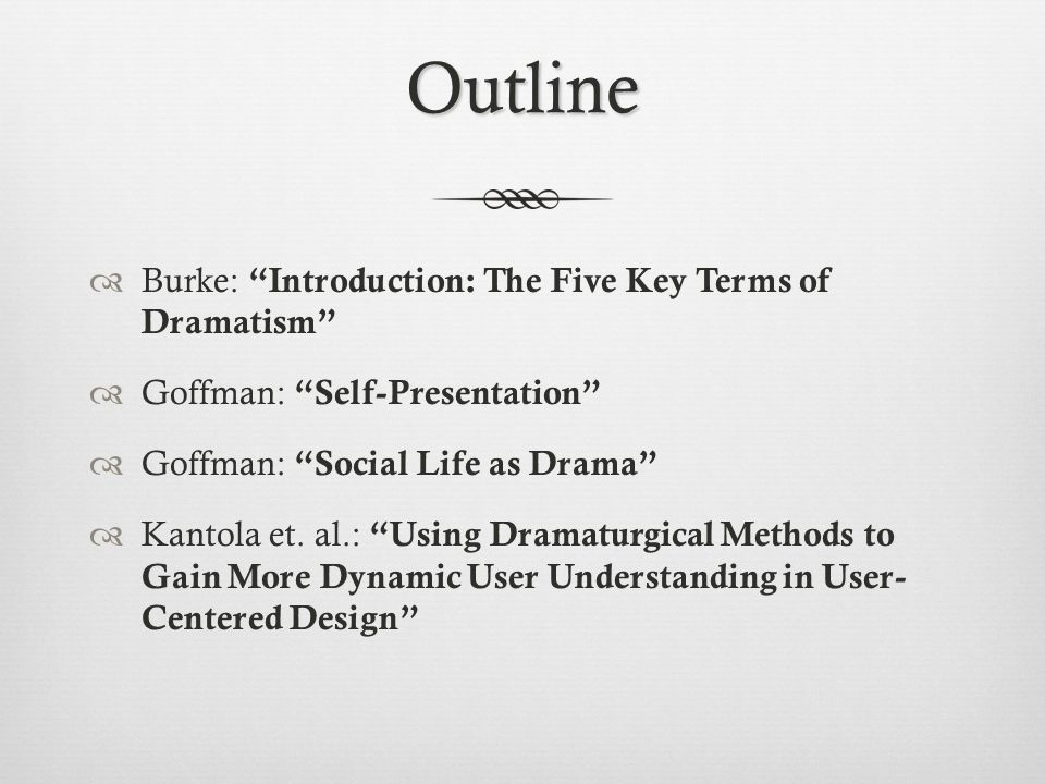 Outline  Burke: Introduction: The Five Key Terms of Dramatism  Goffman: Self-Presentation  Goffman: Social Life as Drama  Kantola et.