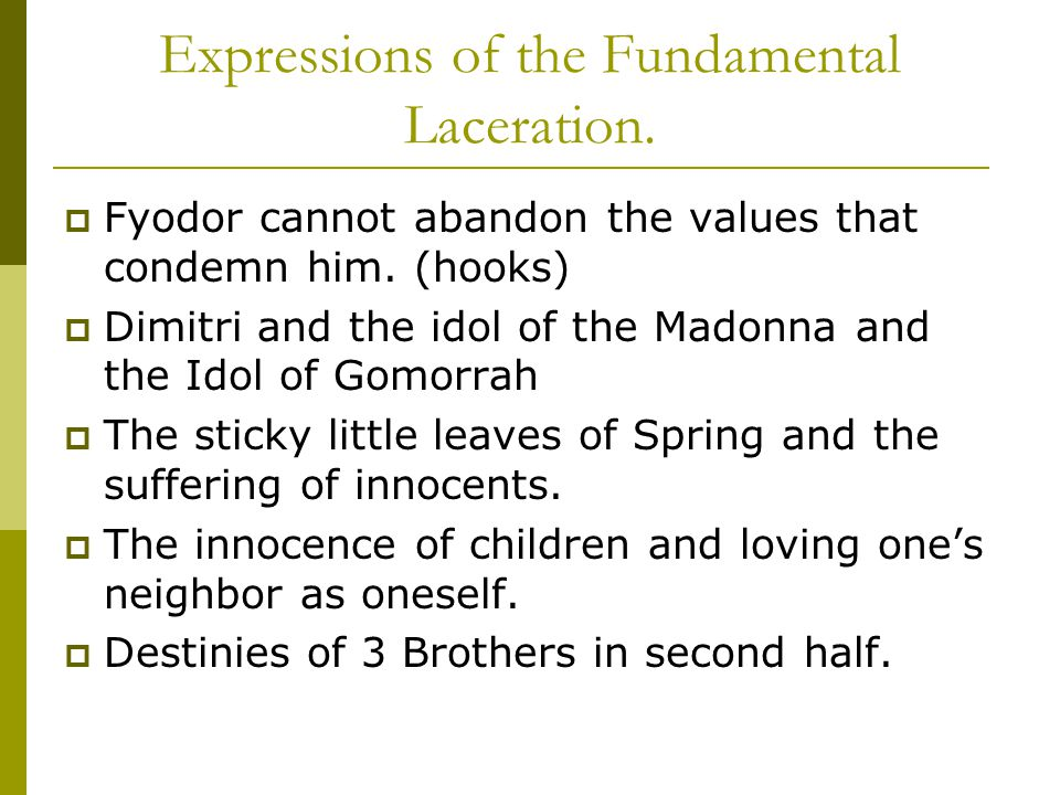 Expressions of the Fundamental Laceration.  Fyodor cannot abandon the values that condemn him.