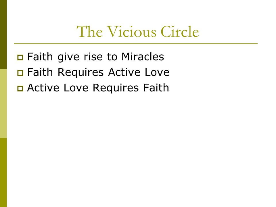 The Vicious Circle  Faith give rise to Miracles  Faith Requires Active Love  Active Love Requires Faith