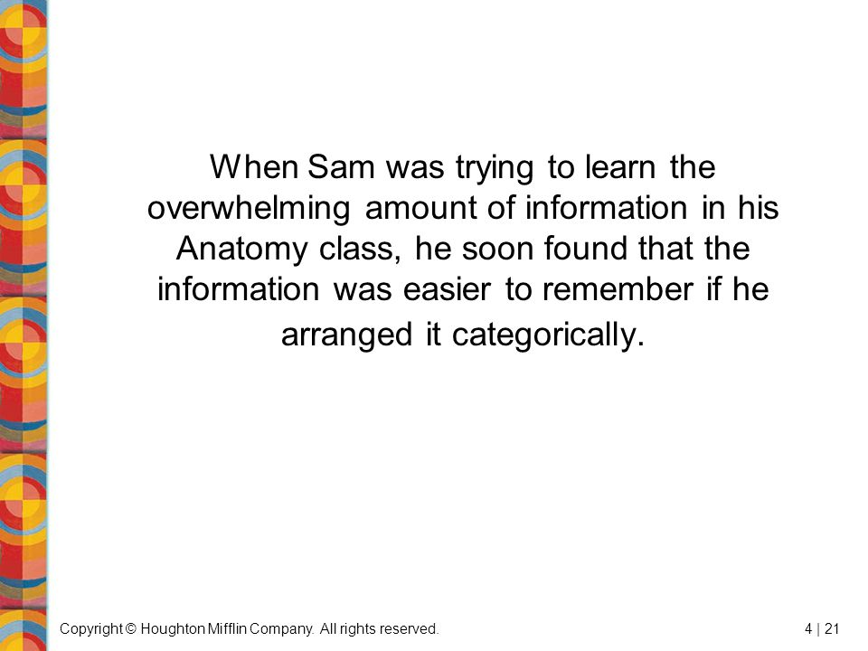 Copyright © Houghton Mifflin Company. All rights reserved.4 | 21 When Sam was trying to learn the overwhelming amount of information in his Anatomy cl