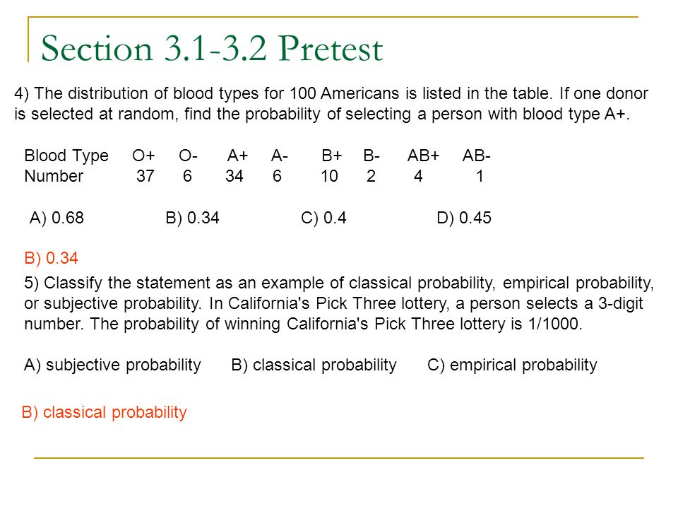Section 3.1-3.2 Pretest 4) The distribution of blood types for 100 Americans is listed in the table. If one donor is selected at random, find the prob