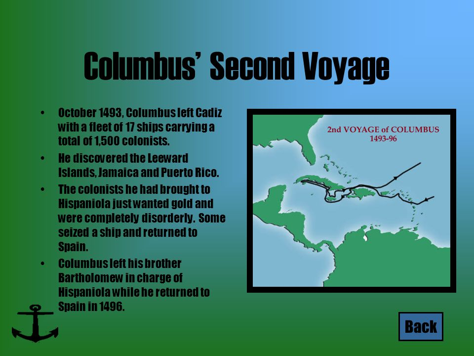 Columbus' Second Voyage October 1493, Columbus left Cadiz with a fleet of 17 ships carrying a total of 1,500 colonists. He discovered the Leeward Isla