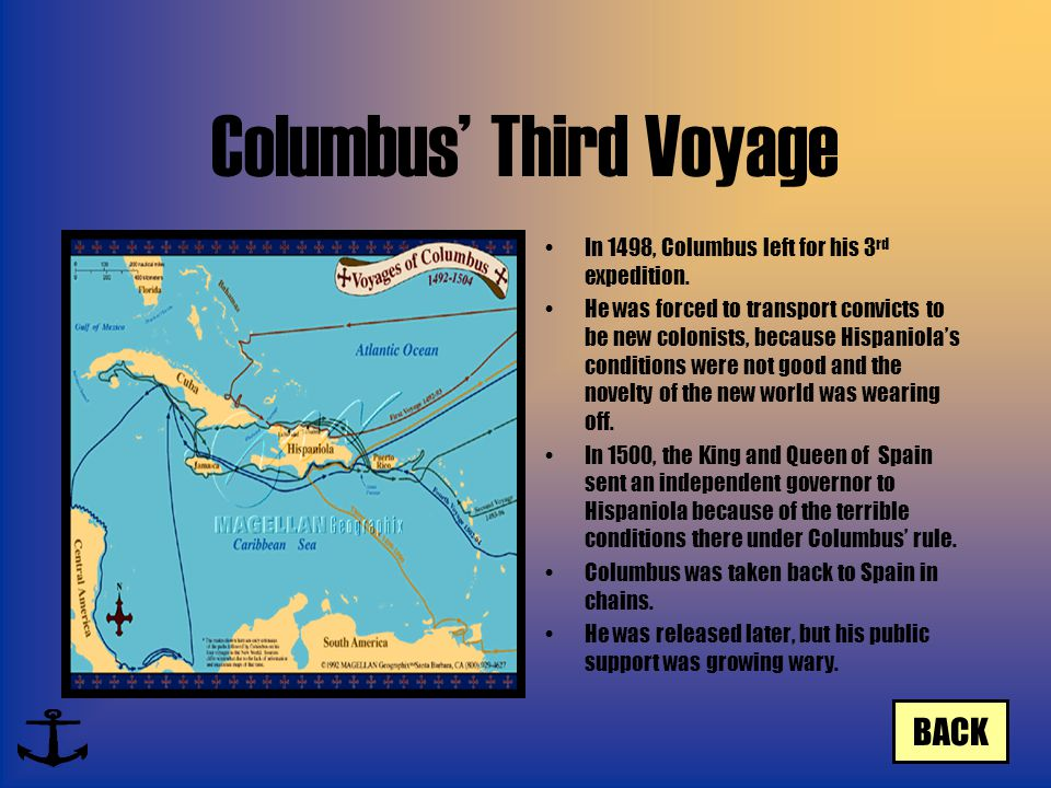 Columbus' Third Voyage In 1498, Columbus left for his 3 rd expedition. He was forced to transport convicts to be new colonists, because Hispaniola's c