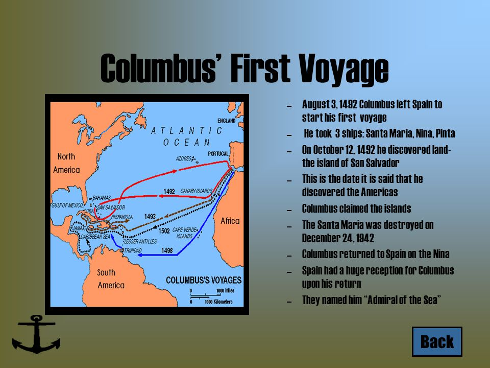 Columbus' First Voyage –August 3, 1492 Columbus left Spain to start his first voyage – He took 3 ships: Santa Maria, Nina, Pinta –On October 12, 1492 he discovered land- the island of San Salvador –This is the date it is said that he discovered the Americas –Columbus claimed the islands –The Santa Maria was destroyed on December 24, 1942 –Columbus returned to Spain on the Nina –Spain had a huge reception for Columbus upon his return –They named him Admiral of the Sea Back