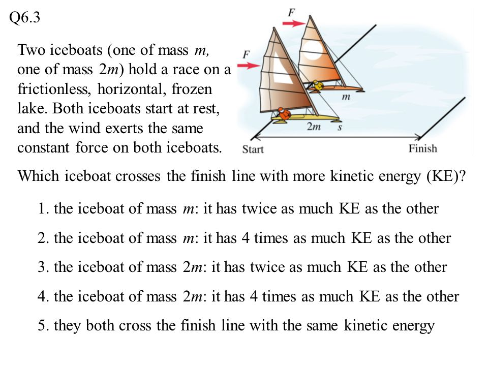 Two iceboats (one of mass m, one of mass 2m) hold a race on a frictionless, horizontal, frozen lake. Both iceboats start at rest, and the wind exerts