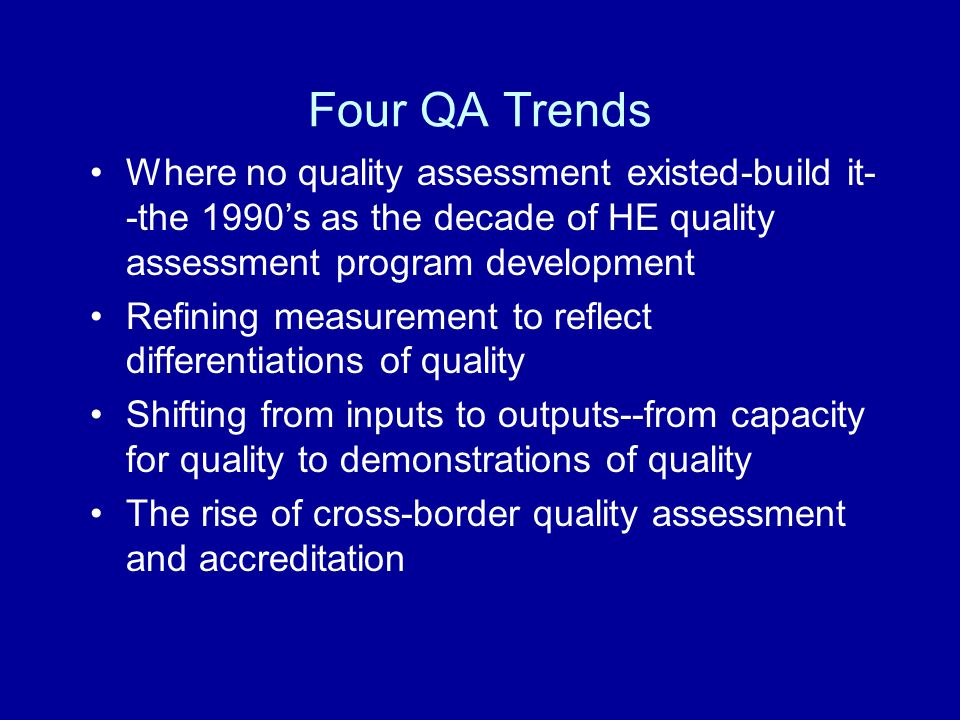 Underlying QA Factors Conceptual –Defining HE environments through neo- liberalism –Shifting relationships between state and HEI's –Changing methodologies and methods for applying QA to HEI's –Internationalization and Globalization