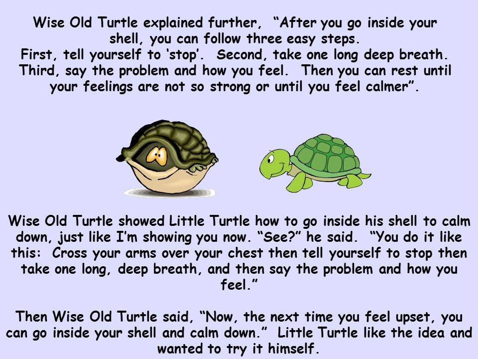 "Wise Old Turtle explained further, ""After you go inside your shell, you can follow three easy steps. First, tell yourself to 'stop'. Second, take one"