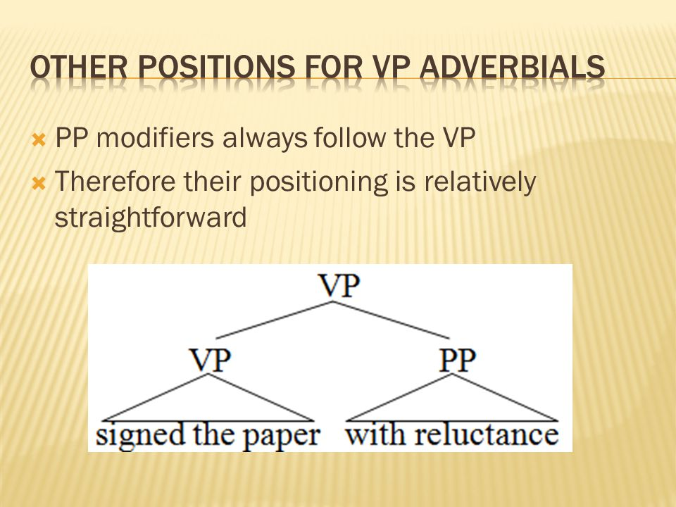  PP modifiers always follow the VP  Therefore their positioning is relatively straightforward
