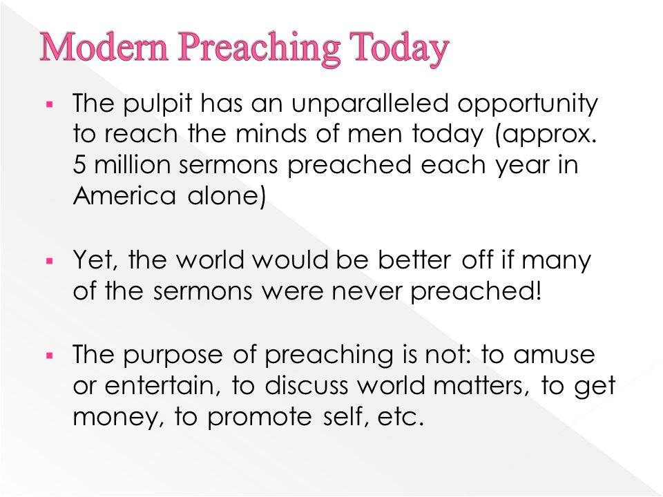  Visitors will pick a particular church based upon the positive, entertaining, feel good , pc preaching style (Isa.
