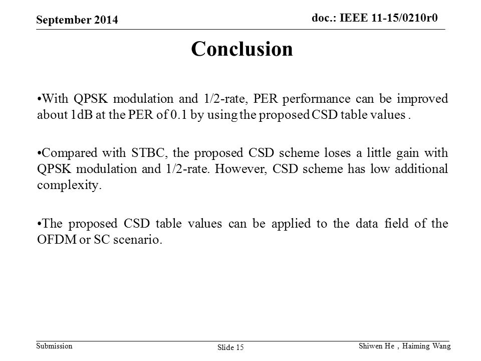 doc.: IEEE 11-15/0210r0 Submission September 2014 Slide 15 Shiwen He , Haiming Wang Conclusion With QPSK modulation and 1/2-rate, PER performance can