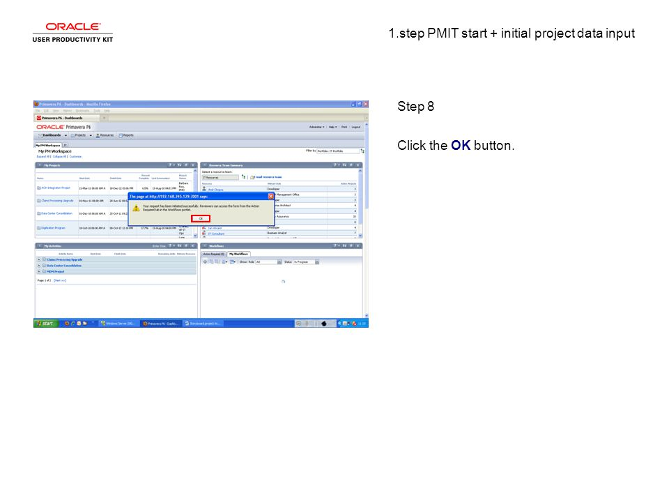 1.step PMIT start + initial project data input Step 8 Click the OK button.
