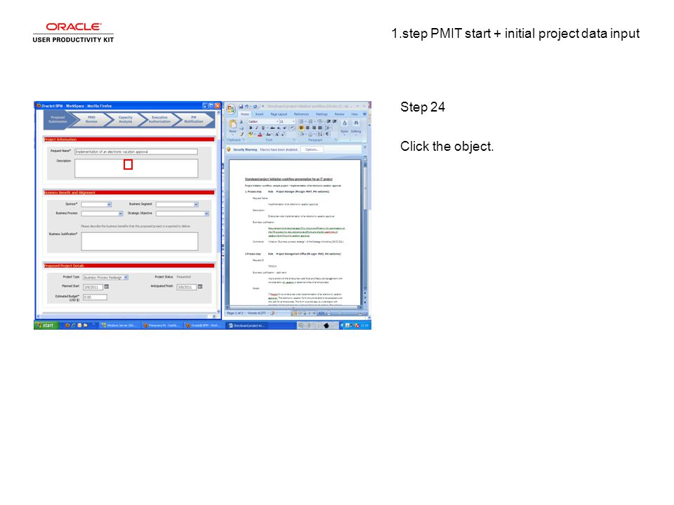 1.step PMIT start + initial project data input Step 24 Click the object.