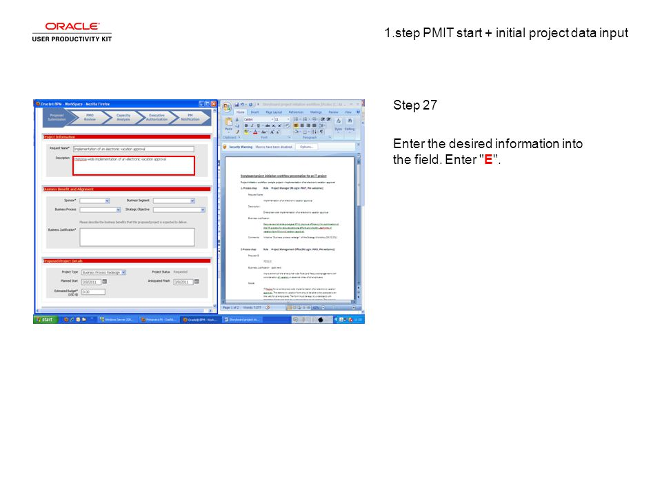 1.step PMIT start + initial project data input Step 27 Enter the desired information into the field.