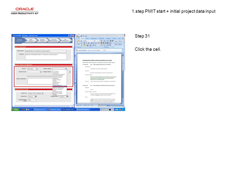 1.step PMIT start + initial project data input Step 31 Click the cell.