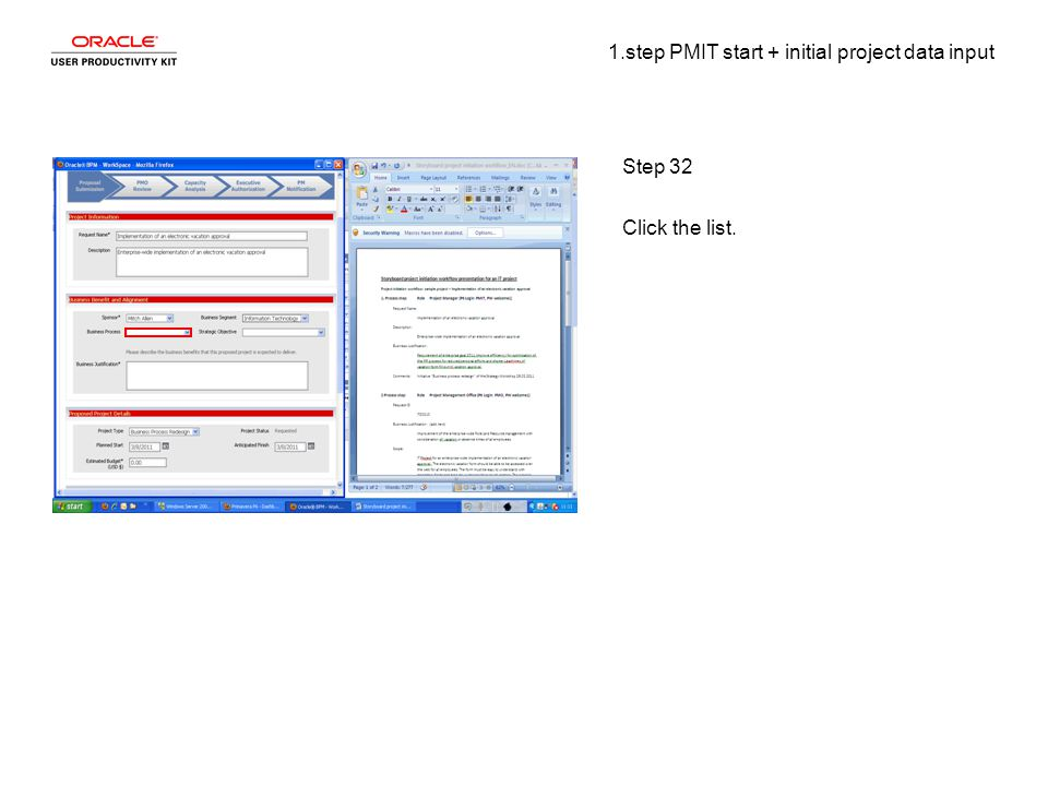 1.step PMIT start + initial project data input Step 32 Click the list.