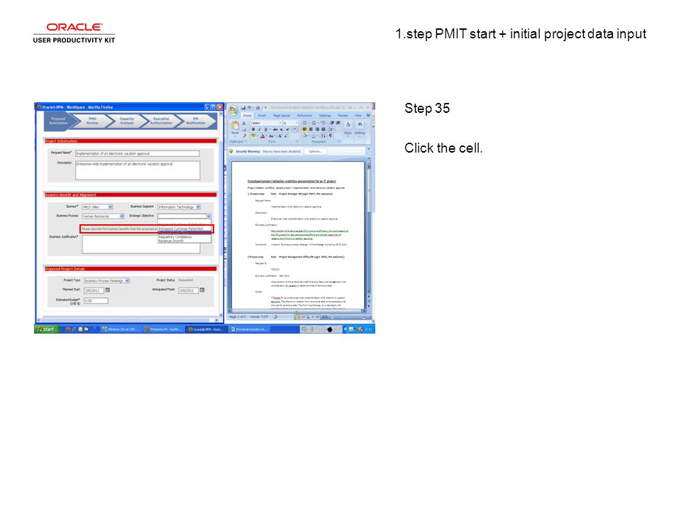 1.step PMIT start + initial project data input Step 35 Click the cell.
