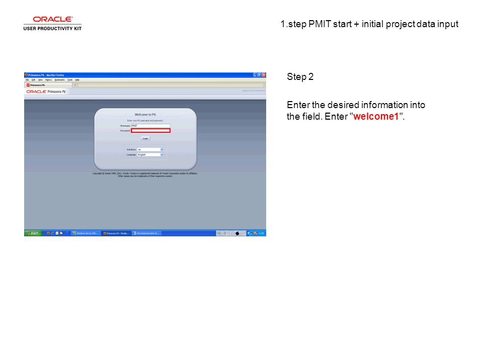 1.step PMIT start + initial project data input Step 2 Enter the desired information into the field.