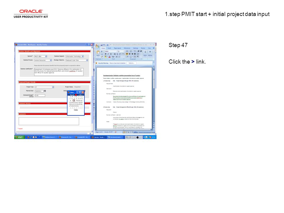 1.step PMIT start + initial project data input Step 47 Click the > link.
