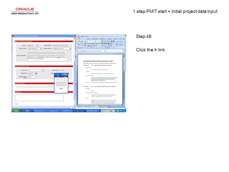 1.step PMIT start + initial project data input Step 48 Click the > link.