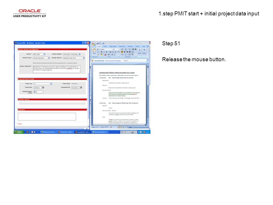 1.step PMIT start + initial project data input Step 51 Release the mouse button.