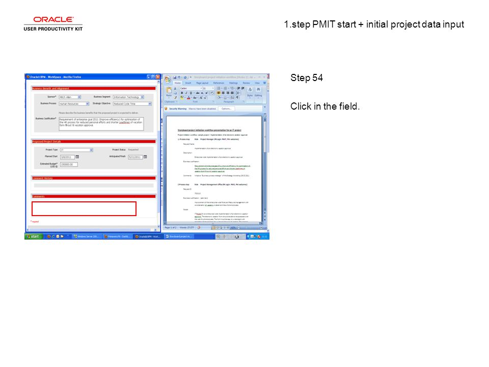 1.step PMIT start + initial project data input Step 54 Click in the field.