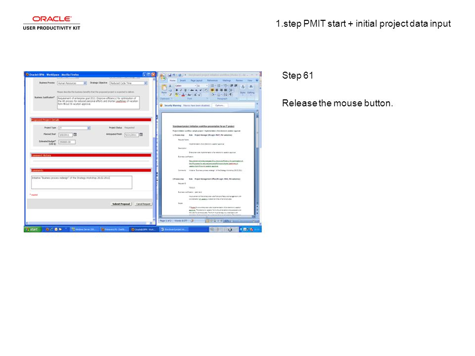 1.step PMIT start + initial project data input Step 61 Release the mouse button.