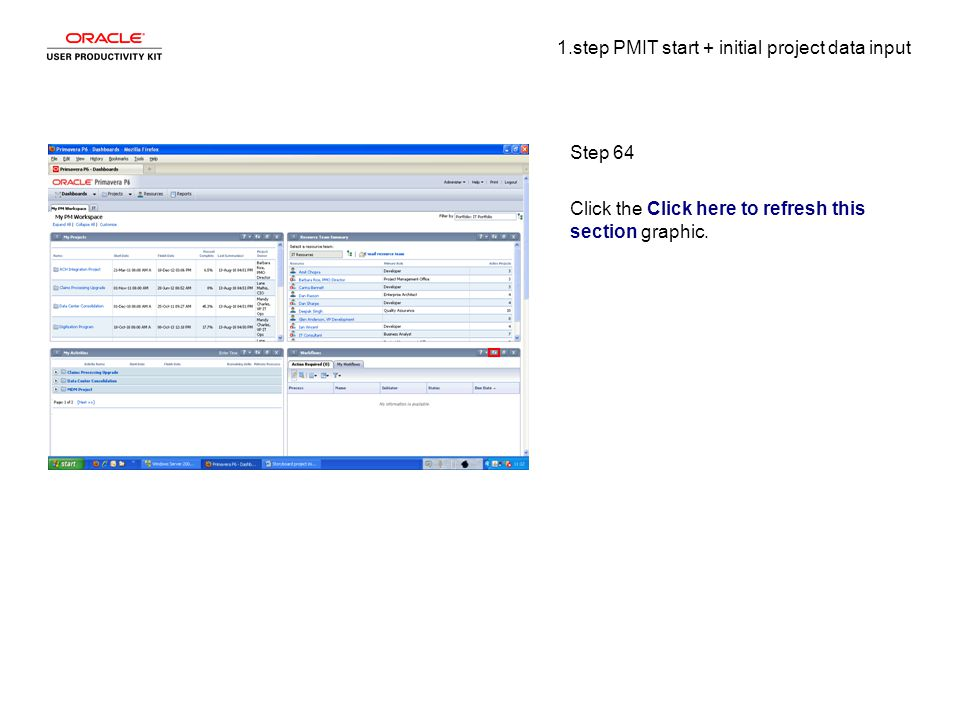 1.step PMIT start + initial project data input Step 64 Click the Click here to refresh this section graphic.
