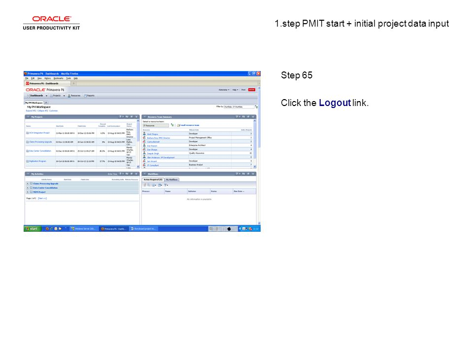 1.step PMIT start + initial project data input Step 65 Click the Logout link.